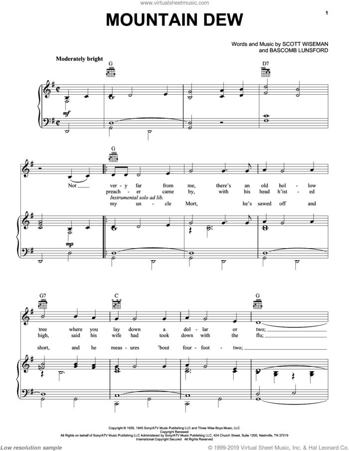 Mountain Dew sheet music for voice, piano or guitar by Grandpa Jones, Bascomb Lunsford and Scott Wiseman, intermediate skill level