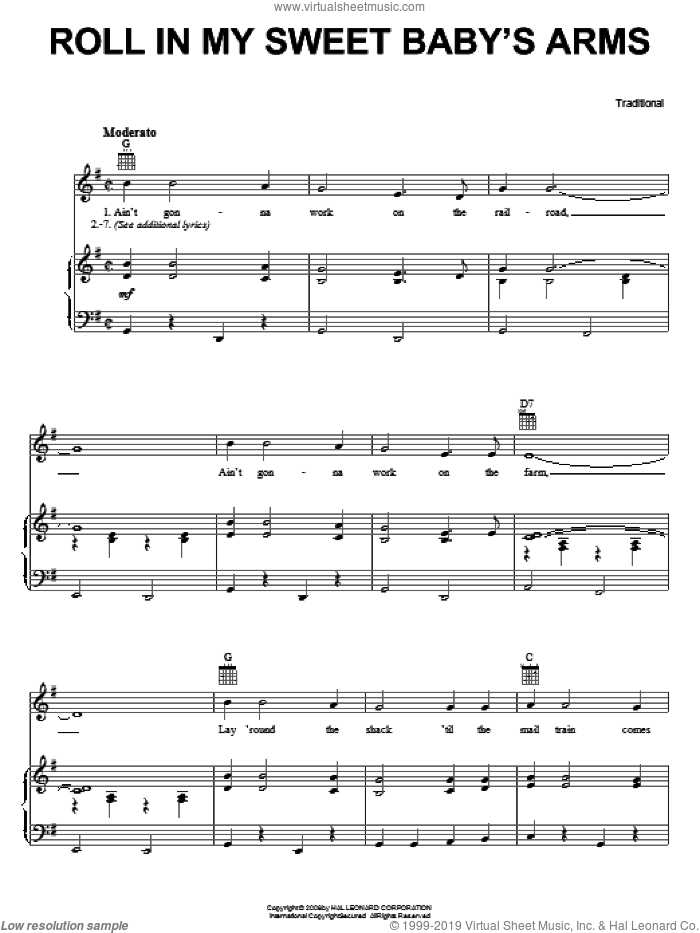 Roll In My Sweet Baby's Arms sheet music for voice, piano or guitar, intermediate skill level