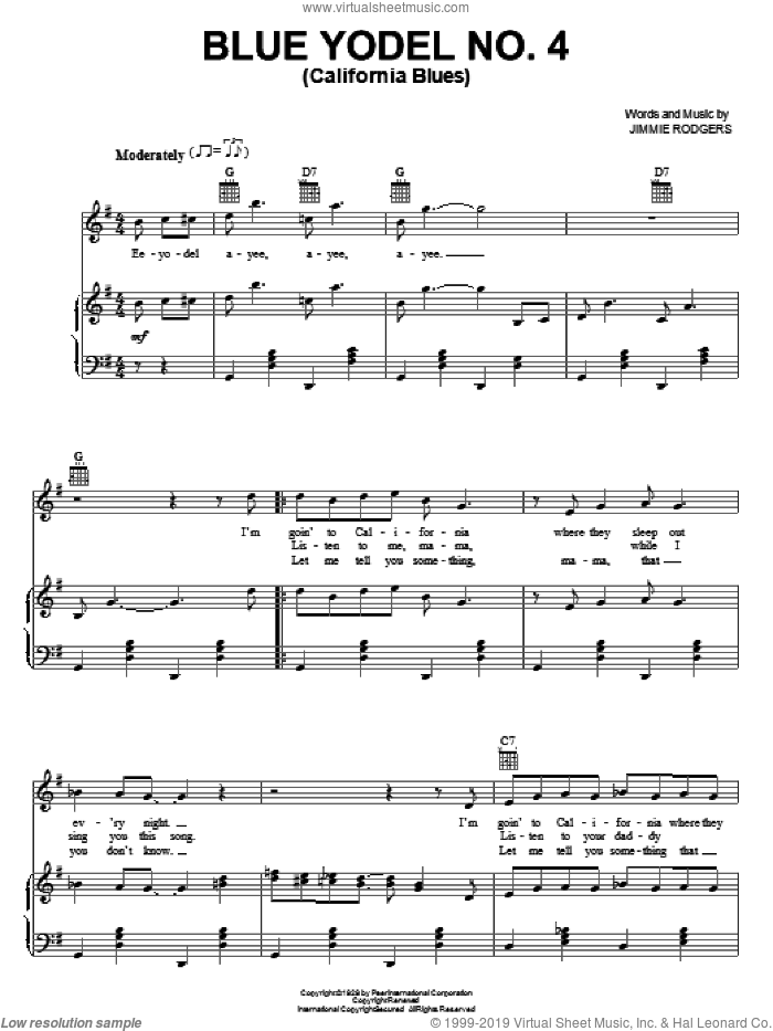 Blue Yodel No. 4 (California Blues) sheet music for voice, piano or guitar by Jimmie Rodgers, intermediate skill level
