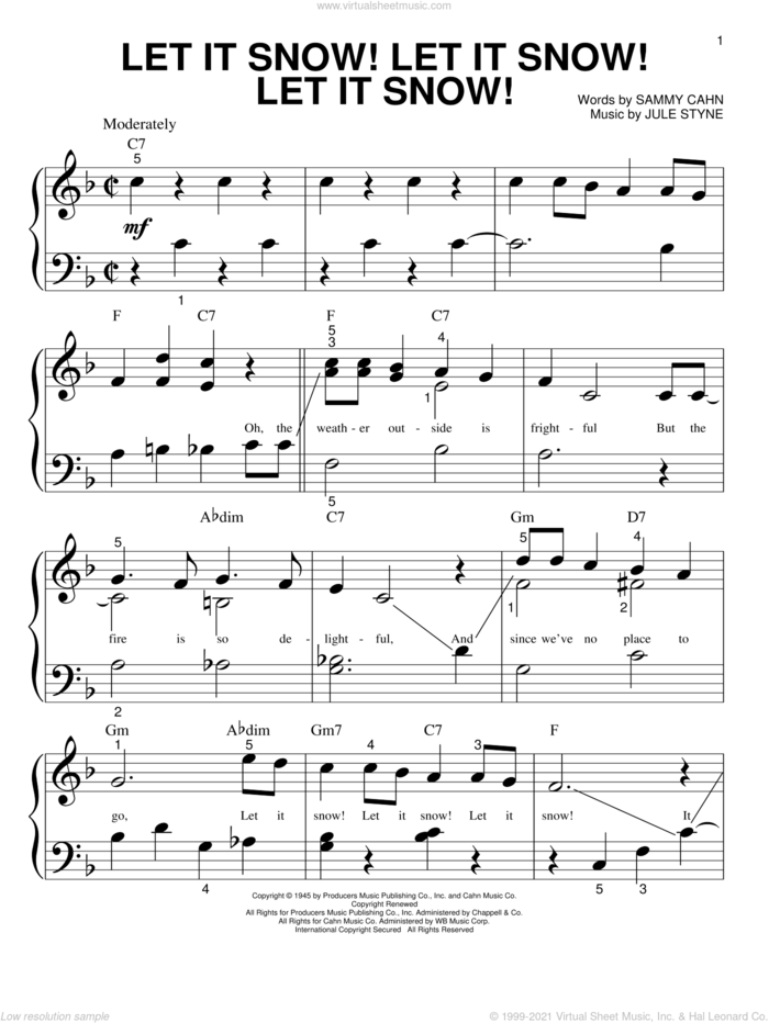 Let It Snow! Let It Snow! Let It Snow! sheet music for piano solo (big note book) by Sammy Cahn and Jule Styne, easy piano (big note book)