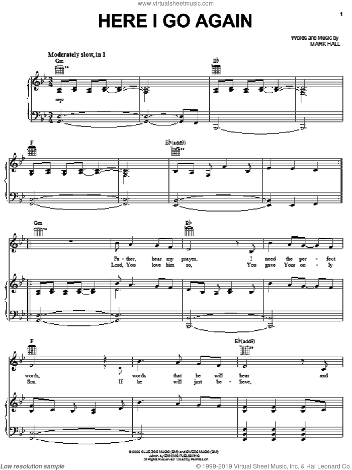 Here I Go Again sheet music for voice, piano or guitar by Casting Crowns and Mark Hall, intermediate skill level