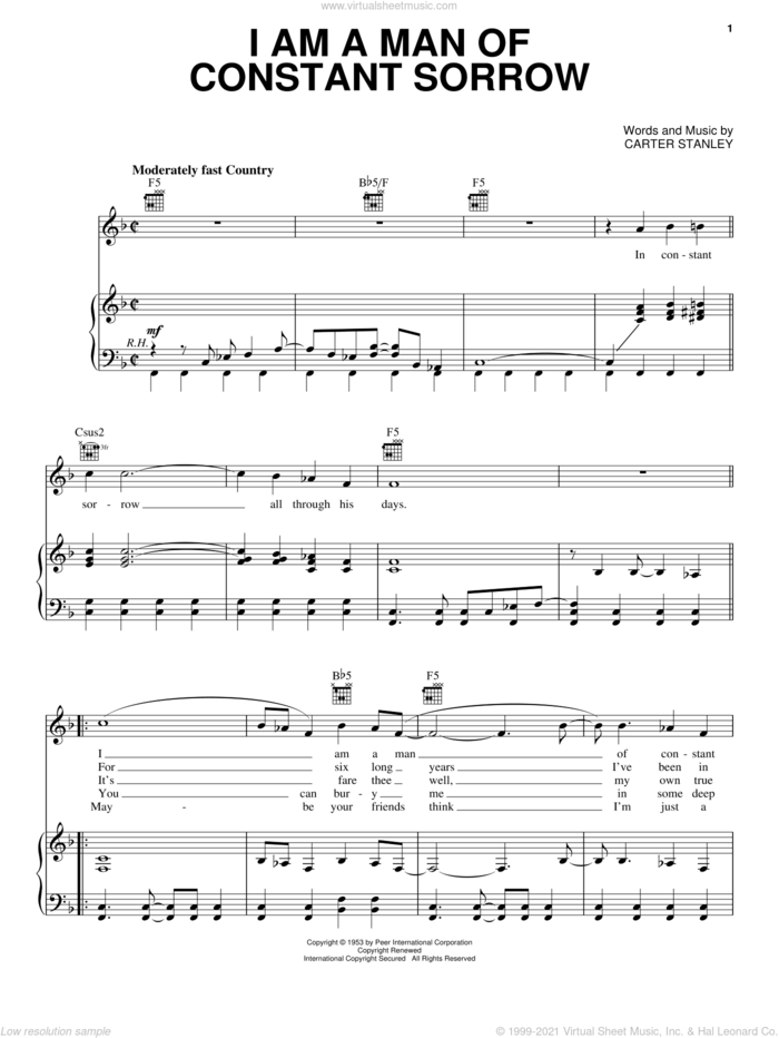 I Am A Man Of Constant Sorrow sheet music for voice, piano or guitar by The Soggy Bottom Boys, O Brother, Where Art Thou? (Movie) and Carter Stanley, intermediate skill level