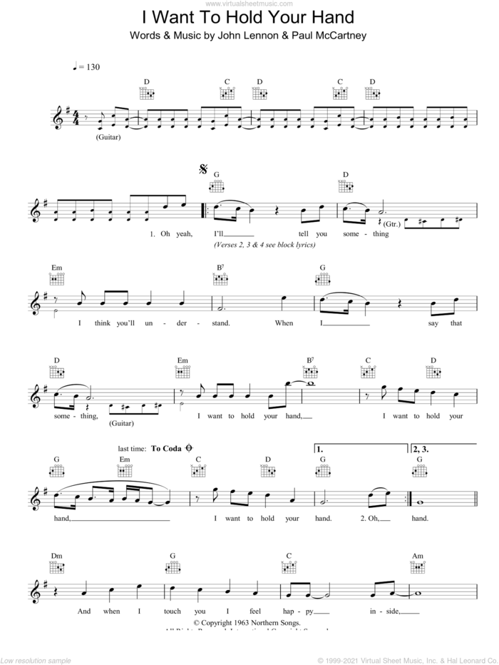 I Want To Hold Your Hand sheet music for voice and other instruments (fake book) by The Beatles, John Lennon and Paul McCartney, intermediate skill level