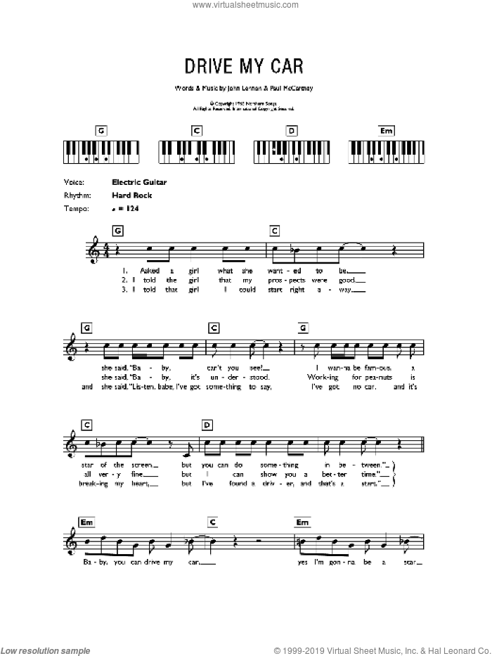 Drive My Car sheet music for piano solo (chords, lyrics, melody) by The Beatles, John Lennon and Paul McCartney, intermediate piano (chords, lyrics, melody)