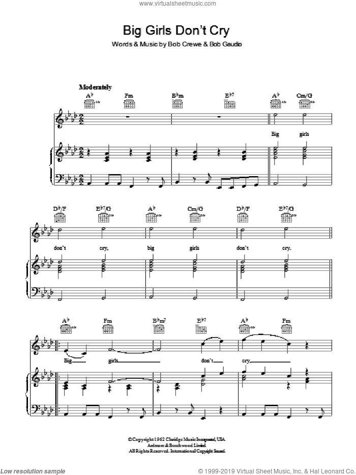Big Girls Don't Cry sheet music for voice, piano or guitar by The Four Seasons, Bob Crewe and Bob Gaudio, intermediate skill level