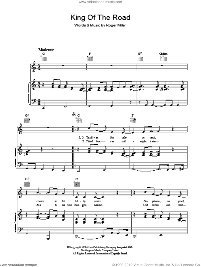King Of The Road sheet music for voice, piano or guitar by Roger Miller, intermediate skill level