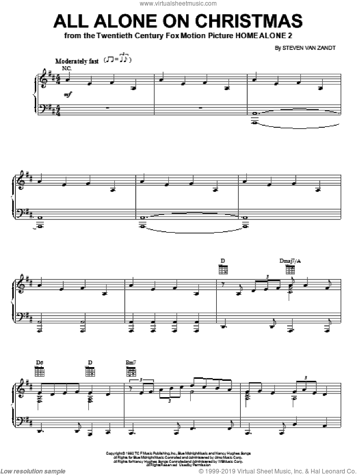 All Alone On Christmas sheet music for voice, piano or guitar by Darlene Love and Steven Van Zandt, intermediate skill level
