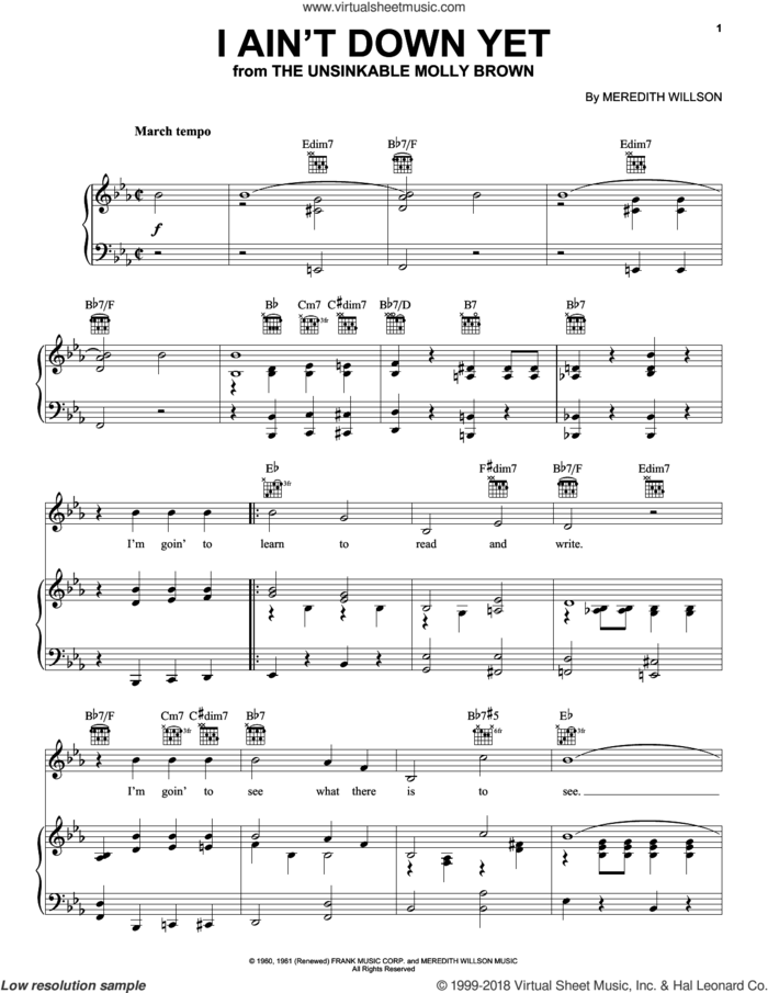 I Ain't Down Yet sheet music for voice, piano or guitar by Meredith Willson, intermediate skill level