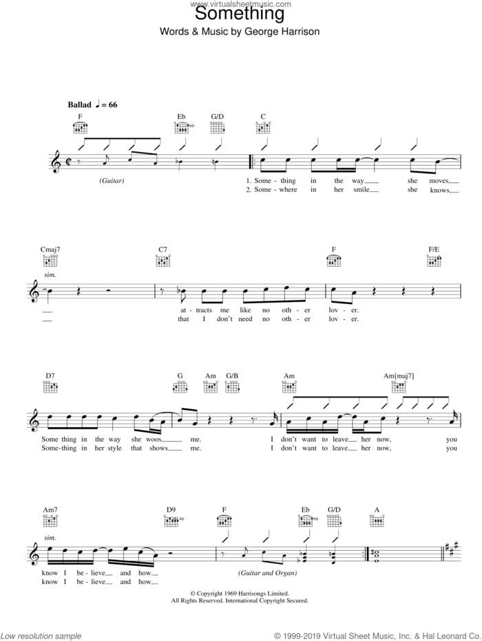 Something sheet music for voice and other instruments (fake book) by The Beatles and George Harrison, intermediate skill level