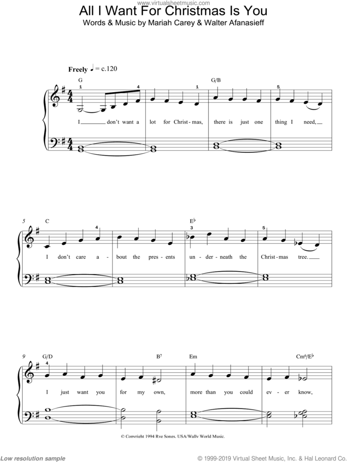 All I Want For Christmas Is You, (easy) sheet music for piano solo by Mariah Carey and Walter Afanasieff, easy skill level