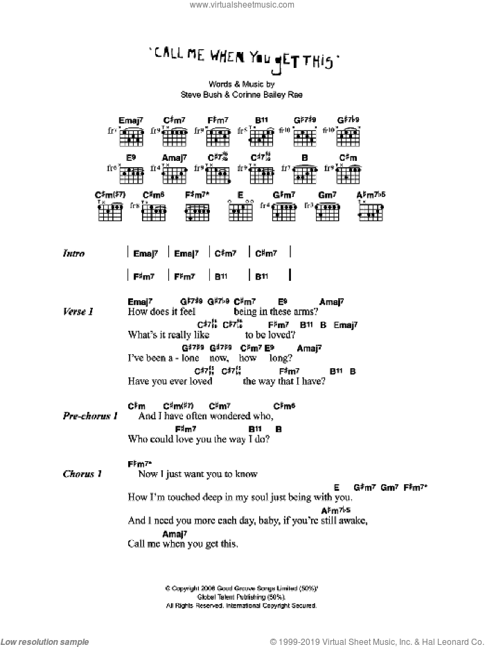 Call Me When You Get This sheet music for guitar (chords) by Corinne Bailey Rae and Steve Bush, intermediate skill level