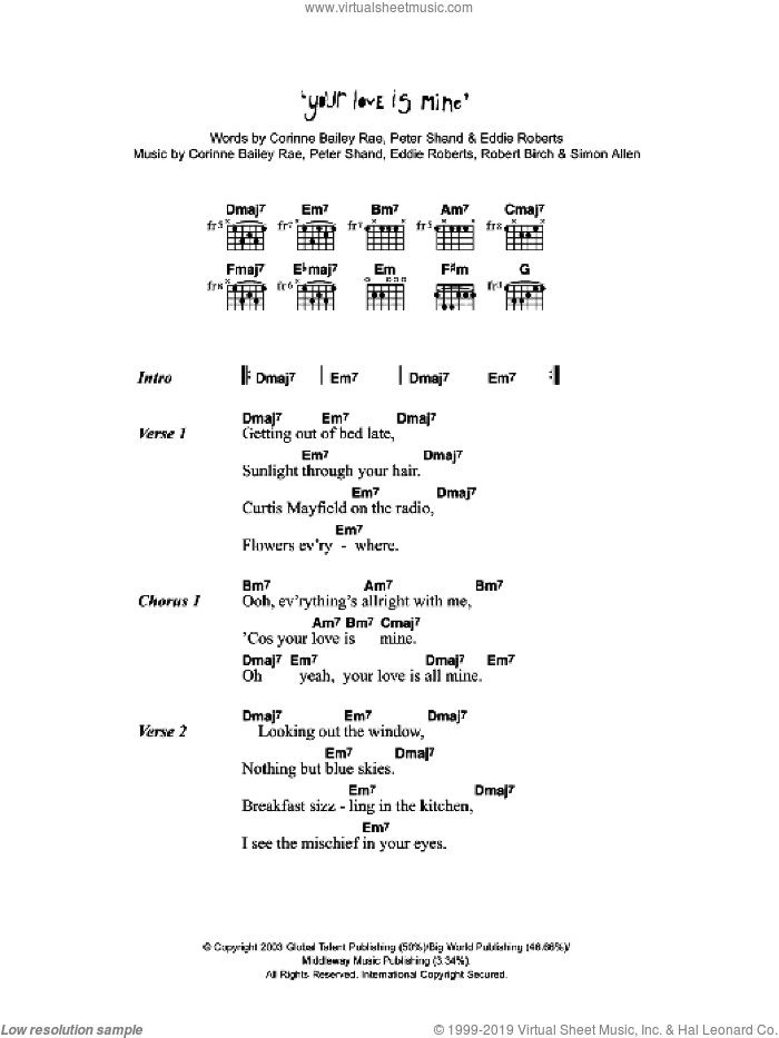 Your Love Is Mine sheet music for guitar (chords) by Corinne Bailey Rae, Eddie Roberts, Peter Shand, Robert Birch and Simon Allen, intermediate skill level