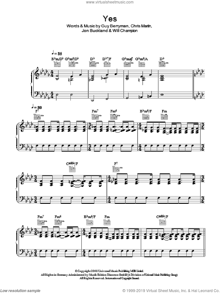 Yes sheet music for voice, piano or guitar by Coldplay, Chris Martin, Guy Berryman, Jon Buckland and Will Champion, intermediate skill level