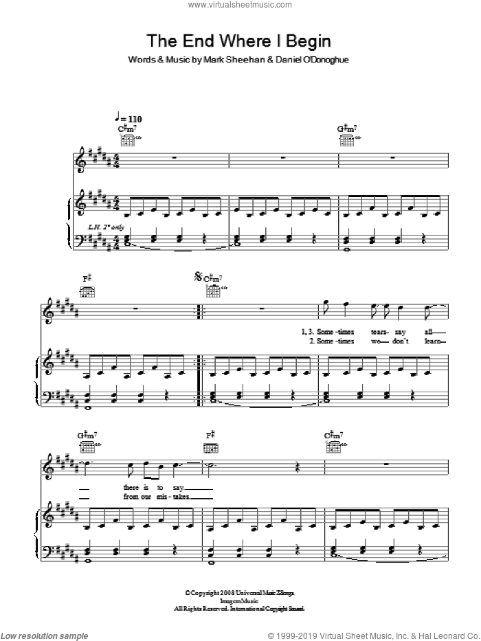 End Where I Begin sheet music for voice, piano or guitar by The Script and Mark Sheehan, intermediate skill level