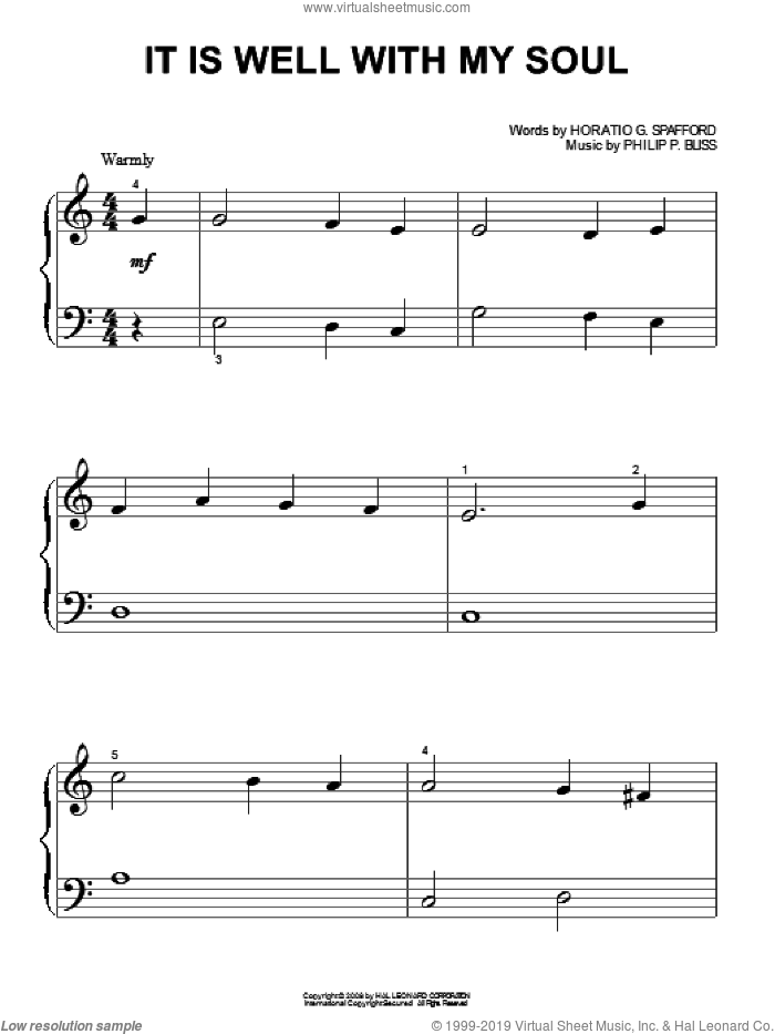 It Is Well With My Soul sheet music for piano solo (big note book) by Philip P. Bliss, Mahalia Jackson, Rebecca St. James and Horatio G. Spafford, easy piano (big note book)
