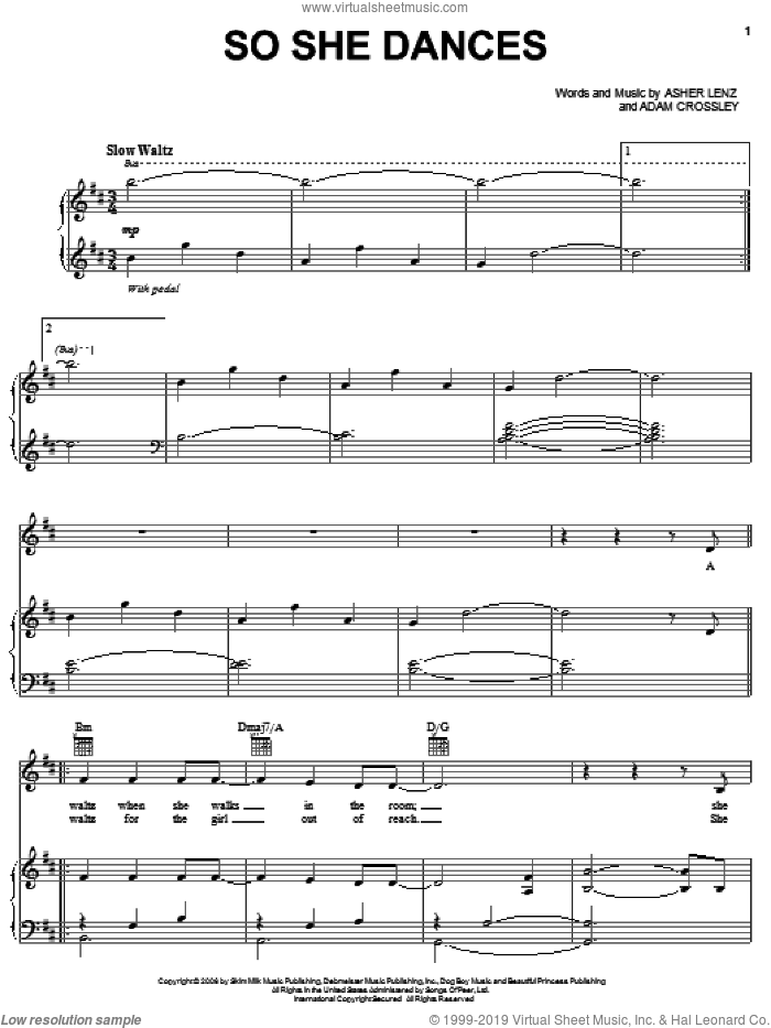 So She Dances sheet music for voice, piano or guitar by Josh Groban, Adam Crossley and Asher Lenz, intermediate skill level