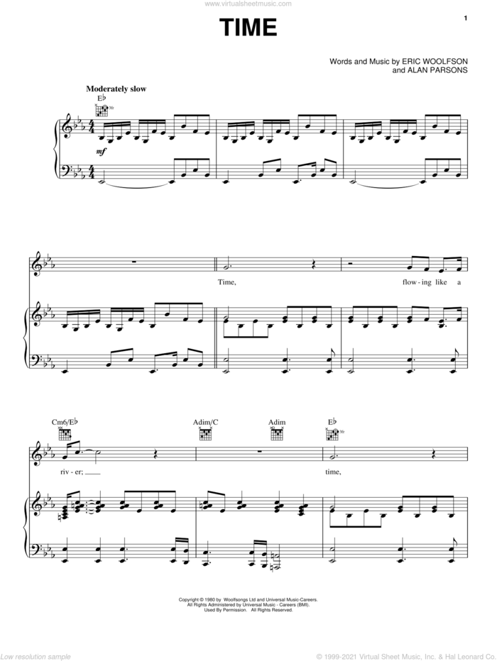 Time sheet music for voice, piano or guitar by Alan Parsons Project, Alan Parsons and Eric Woolfson, intermediate skill level