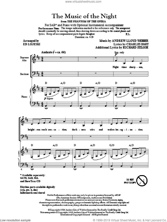 The Music Of The Night (from The Phantom Of The Opera) sheet music for choir (SAB: soprano, alto, bass) by Andrew Lloyd Webber, Charles Hart, Richard Stilgoe and Ed Lojeski, intermediate skill level