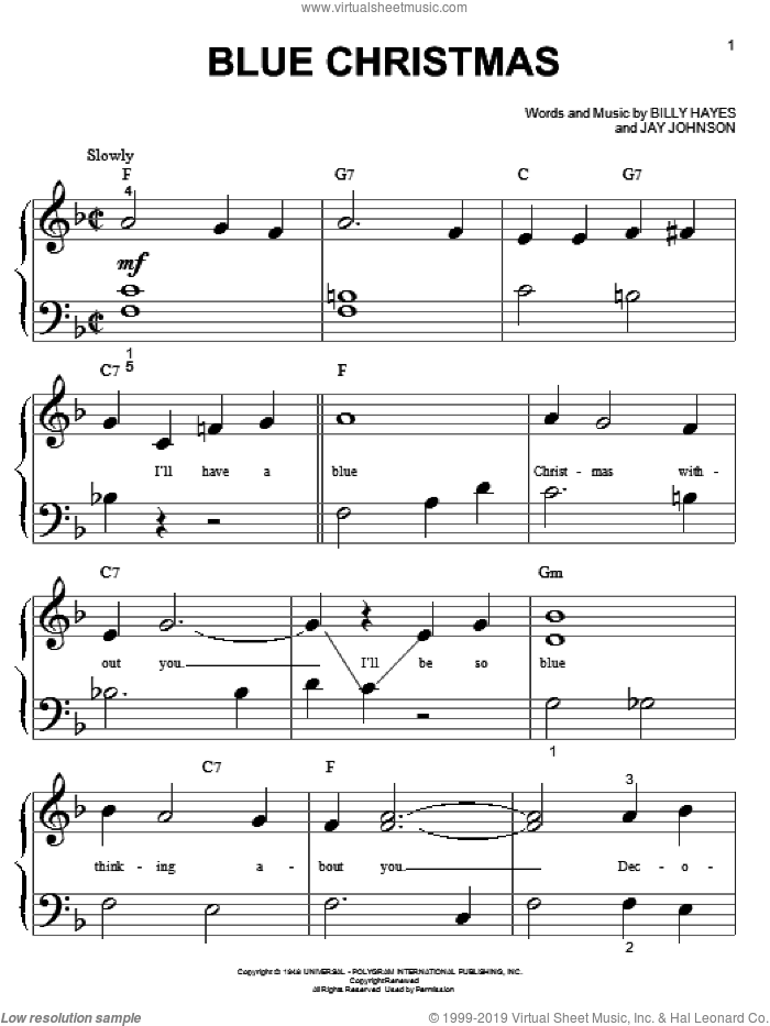 Blue Christmas sheet music for piano solo (big note book) by Elvis Presley, Billy Hayes and Jay Johnson, easy piano (big note book)
