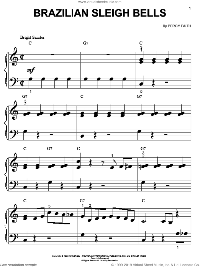Brazilian Sleigh Bells sheet music for piano solo (big note book) by Percy Faith, easy piano (big note book)