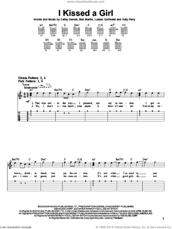I Kissed A Girl sheet music for guitar solo (easy tablature) by Katy Perry, Cathy Dennis, Lukasz Gottwald, Max Marin and Max Martin, easy guitar (easy tablature)