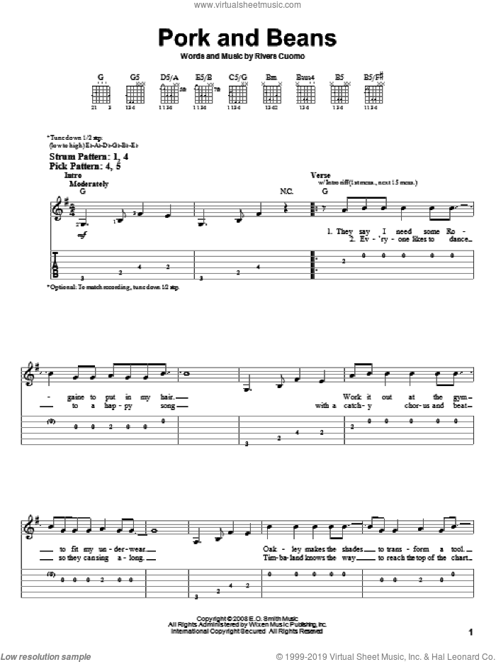 Pork And Beans sheet music for guitar solo (easy tablature) by Weezer and Rivers Cuomo, easy guitar (easy tablature)
