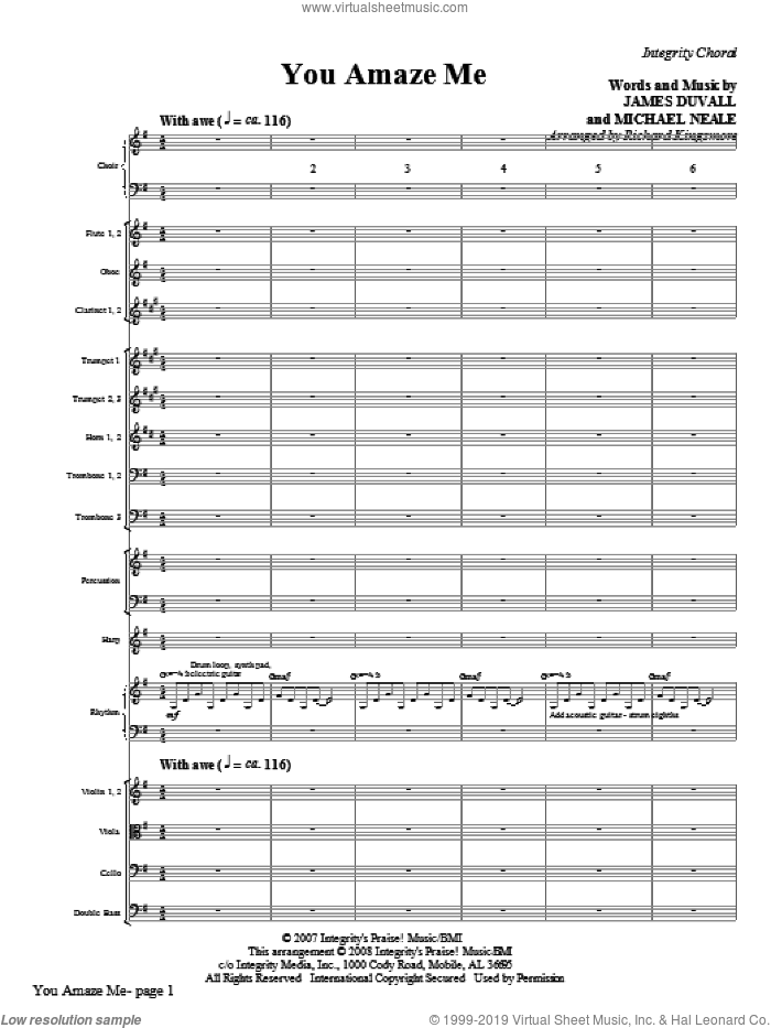 You Amaze Me (COMPLETE) sheet music for orchestra/band (Orchestra) by Michael Neale, James Duvall and Richard Kingsmore, intermediate skill level