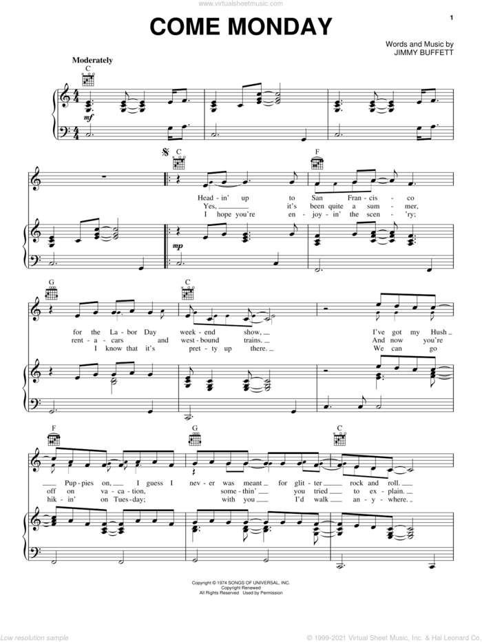 Come Monday sheet music for voice, piano or guitar by Jimmy Buffett, intermediate skill level