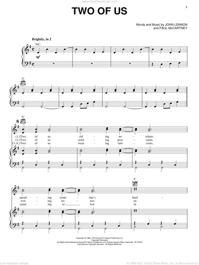 Two Of Us sheet music for voice, piano or guitar by The Beatles, John Lennon and Paul McCartney, intermediate skill level
