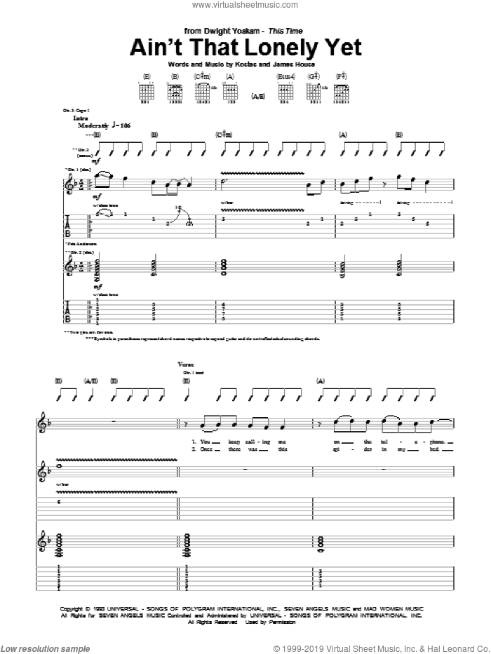 Ain't That Lonely Yet sheet music for guitar (tablature) by Dwight Yoakam, James House and Kostas, intermediate skill level