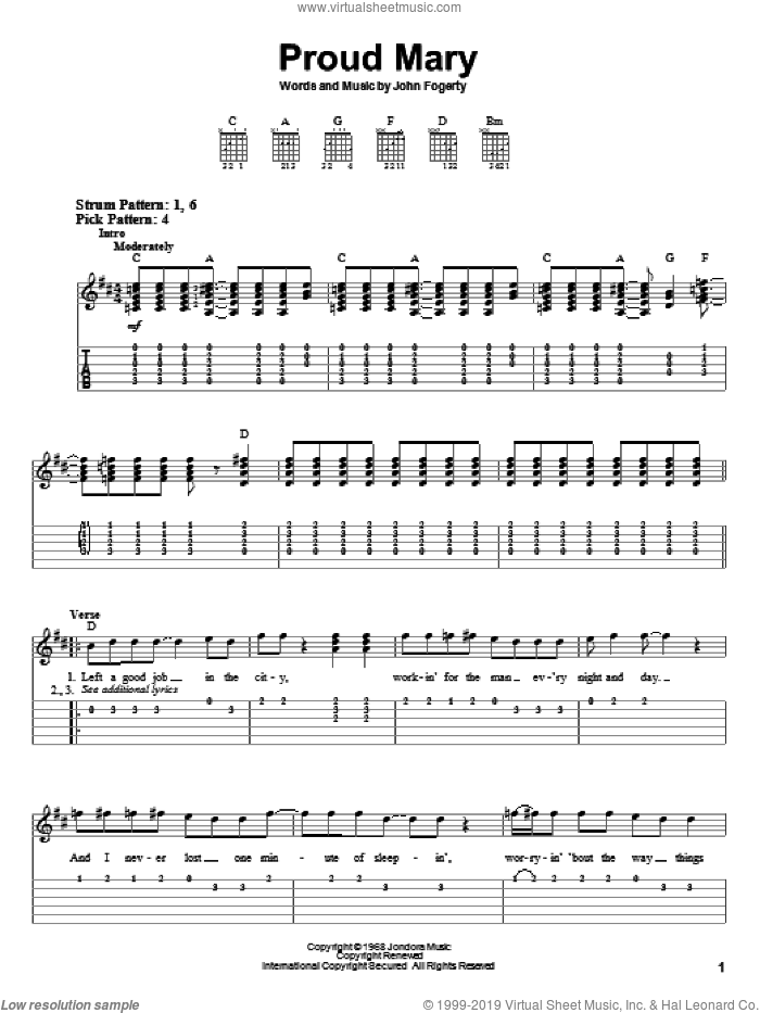 Proud Mary sheet music for guitar solo (easy tablature) by Creedence Clearwater Revival, Ike & Tina Turner, Miscellaneous and John Fogerty, easy guitar (easy tablature)