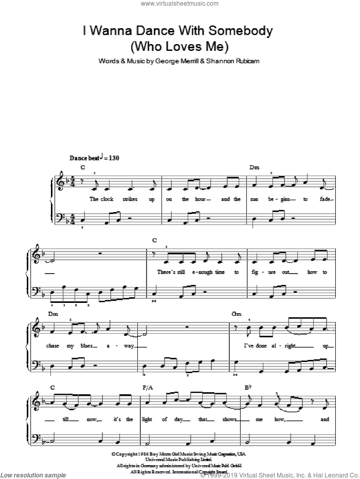 I Wanna Dance With Somebody (Who Loves Me), (easy) sheet music for piano solo by Whitney Houston, George Merrill and Shannon Rubicam, easy skill level