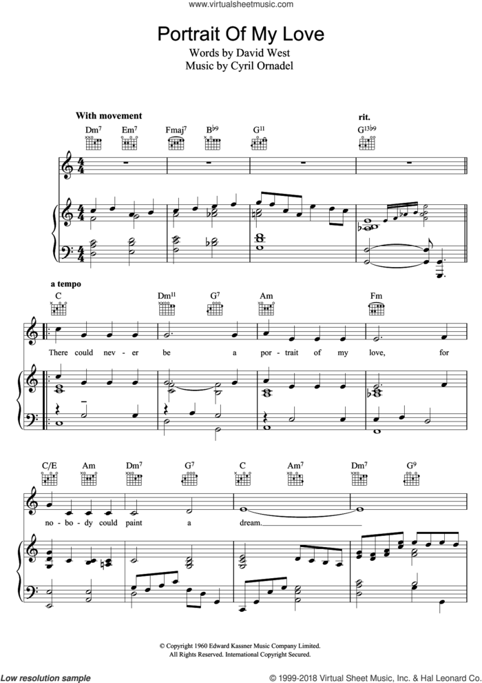 Portrait Of My Love sheet music for voice, piano or guitar by Matt Monro, Cyril Ornadel and David West, intermediate skill level