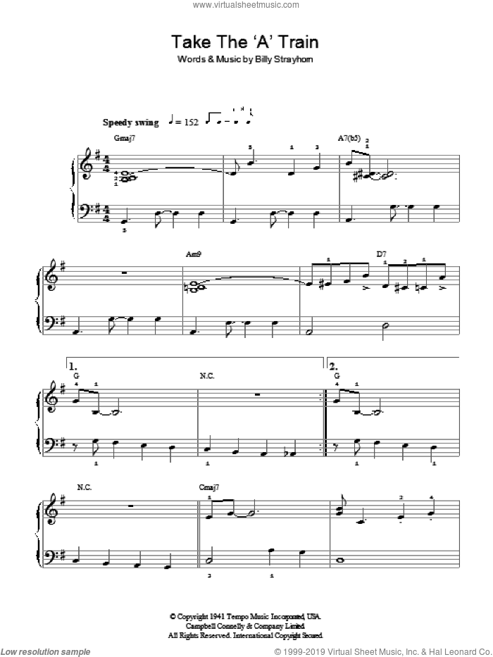 Take The 'A' Train, (easy) sheet music for piano solo by Billy Strayhorn and Duke Ellington, easy skill level