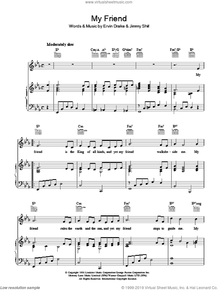 My Friend sheet music for voice, piano or guitar by Frankie Laine, Ervin Darke and Jimmy Shirl, intermediate skill level