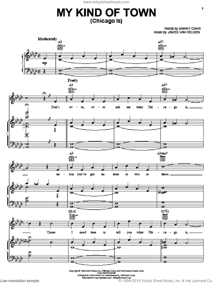 My Kind Of Town (Chicago Is) sheet music for voice, piano or guitar by Frank Sinatra, Jimmy van Heusen and Sammy Cahn, intermediate skill level