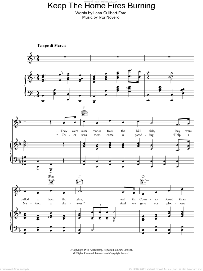 Keep The Home Fires Burning sheet music for voice, piano or guitar by John McCormack, Ivor Novello and Lena Guilbert-Ford, intermediate skill level
