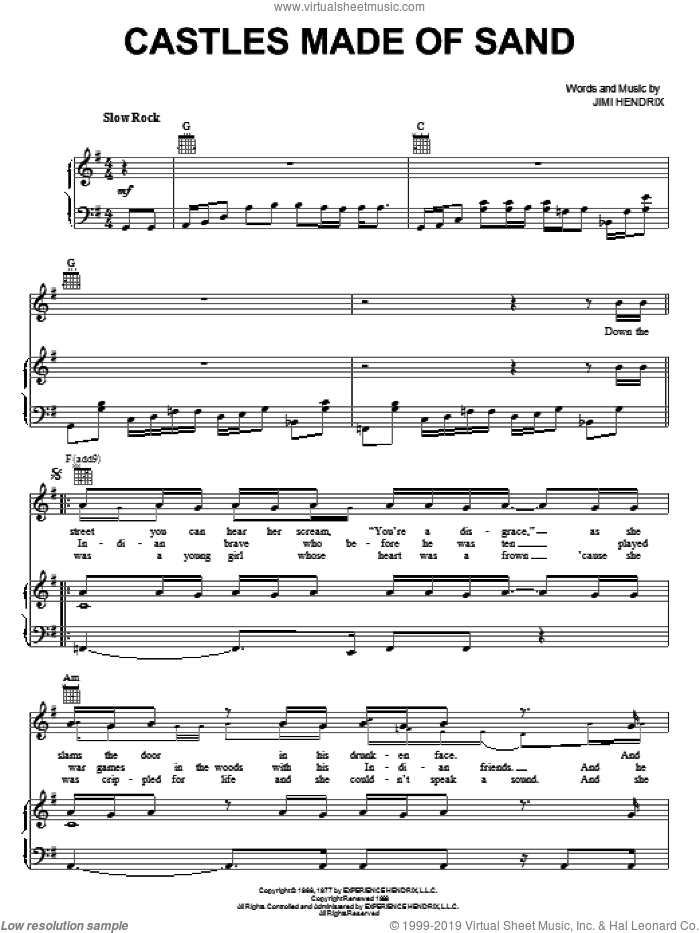 Castles Made Of Sand sheet music for voice, piano or guitar by Jimi Hendrix, intermediate skill level