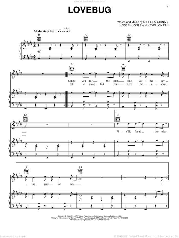 Lovebug sheet music for voice, piano or guitar by Jonas Brothers, Joseph Jonas, Kevin Jonas II and Nicholas Jonas, intermediate skill level