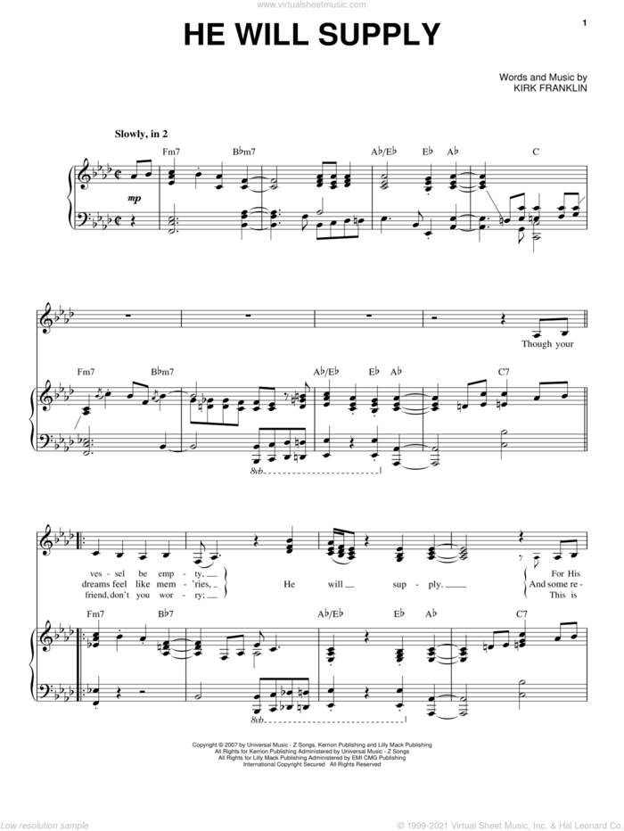 He Will Supply sheet music for voice and piano by Kirk Franklin, intermediate skill level