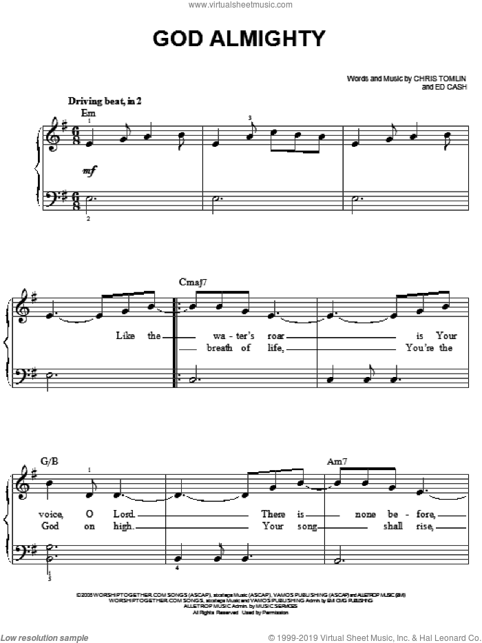 God Almighty sheet music for piano solo by Chris Tomlin and Ed Cash, easy skill level