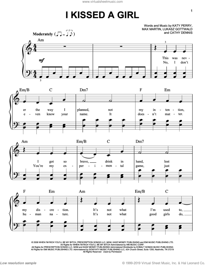 I Kissed A Girl sheet music for piano solo by Katy Perry, Cathy Dennis, Lukasz Gottwald, Max Marin and Max Martin, easy skill level