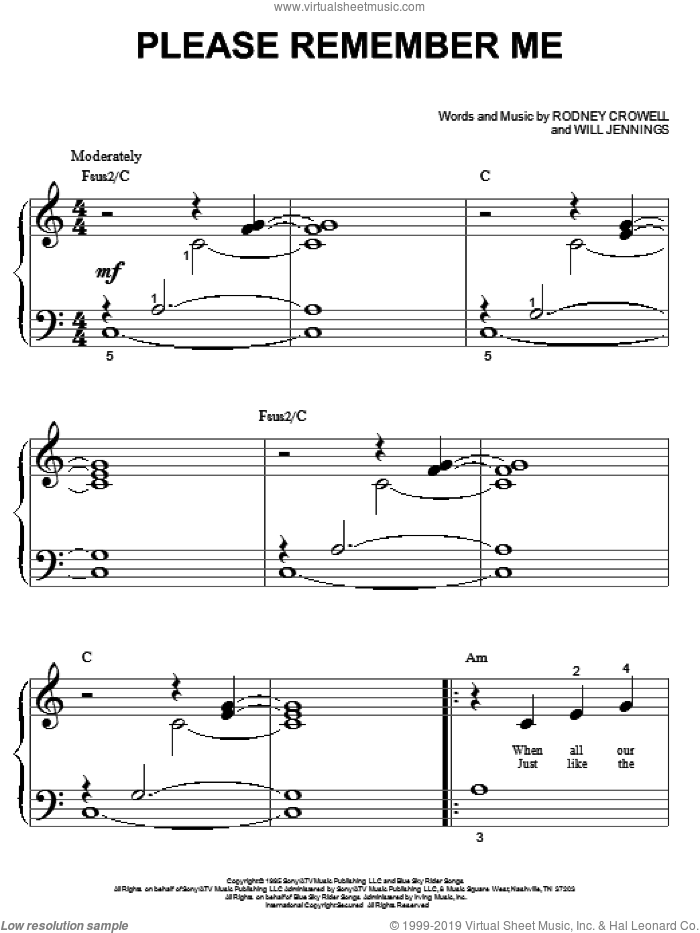 Please Remember Me sheet music for piano solo (big note book) by Tim McGraw, Rodney Crowell and Will Jennings, easy piano (big note book)
