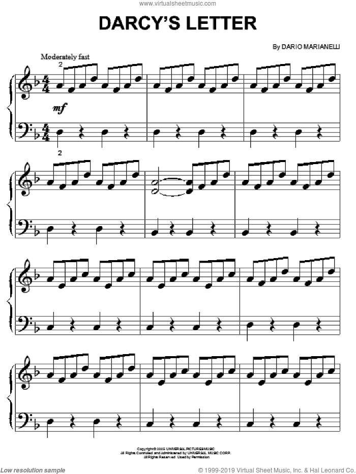 Darcy's Letter sheet music for piano solo (big note book) by Dario Marianelli and Pride & Prejudice (Movie), easy piano (big note book)