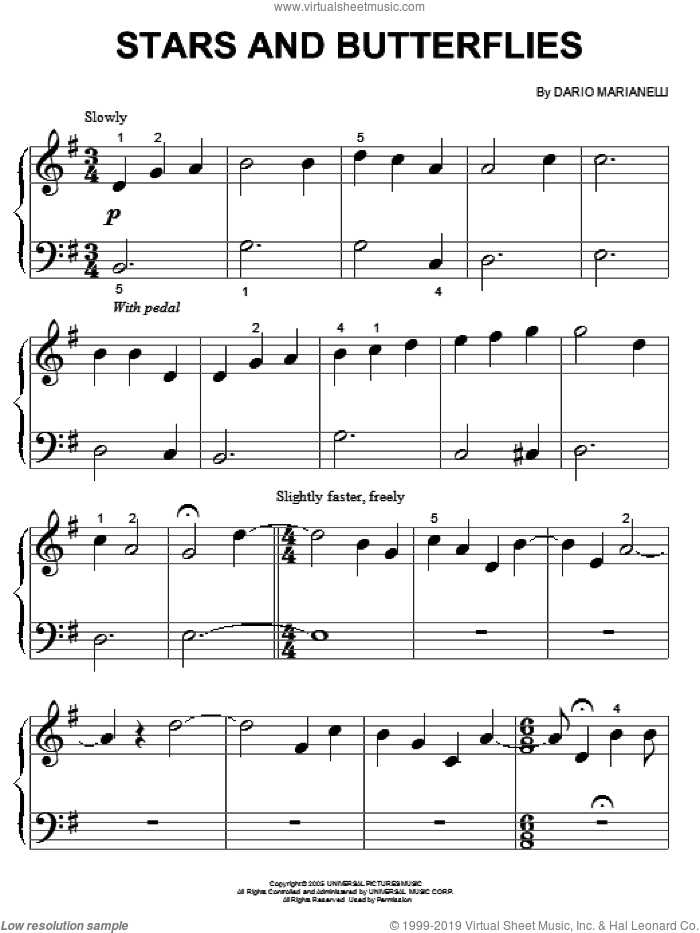 Stars And Butterflies sheet music for piano solo (big note book) by Dario Marianelli and Pride & Prejudice (Movie), easy piano (big note book)