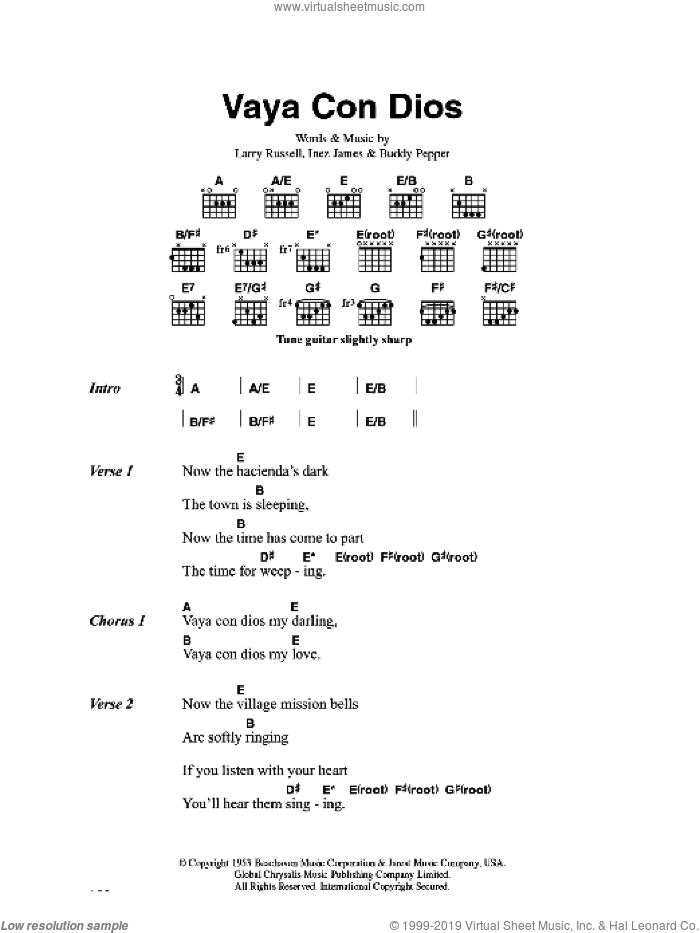 Vaya Con Dios sheet music for guitar (chords) by Hank Snow, Buddy Pepper, Inez James and Larry Russell, intermediate skill level