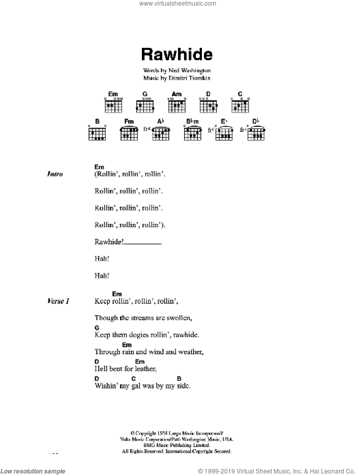 Rawhide sheet music for guitar (chords) by Blues Brothers, Dimitri Tiomkin and Ned Washington, intermediate skill level