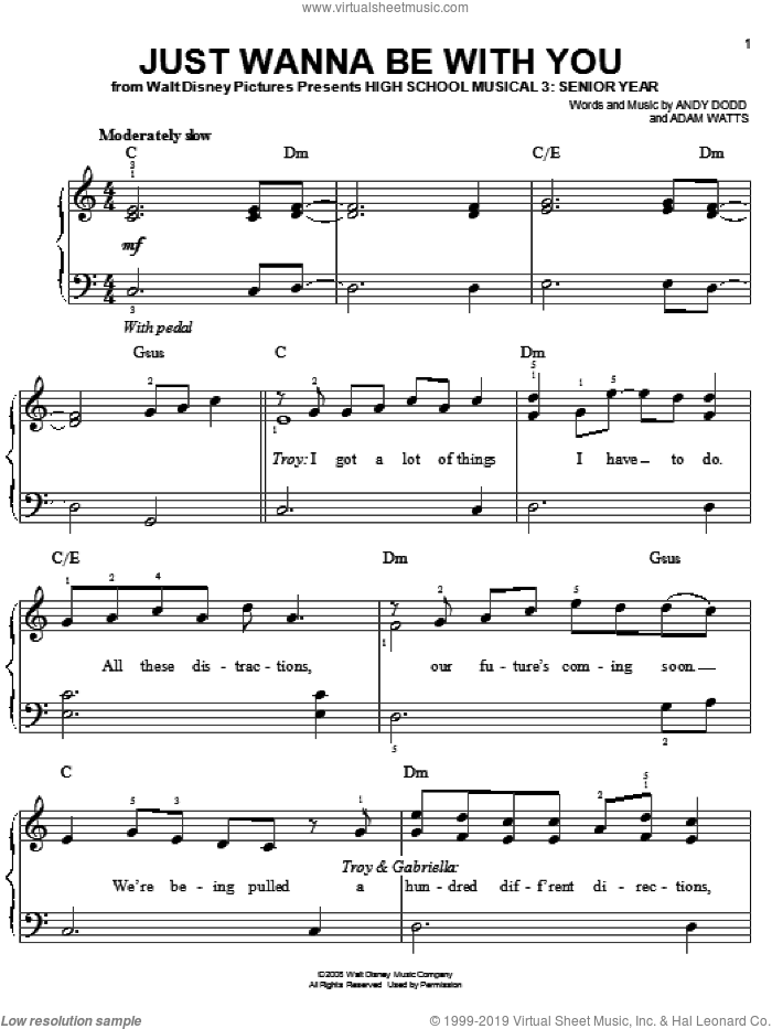 Just Wanna Be With You, (easy) sheet music for piano solo by High School Musical 3, Adam Watts and Andy Dodd, easy skill level