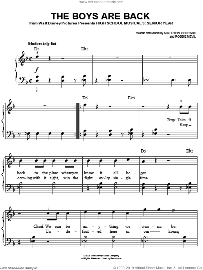 The Boys Are Back sheet music for piano solo by High School Musical 3, Matthew Gerrard and Robbie Nevil, easy skill level