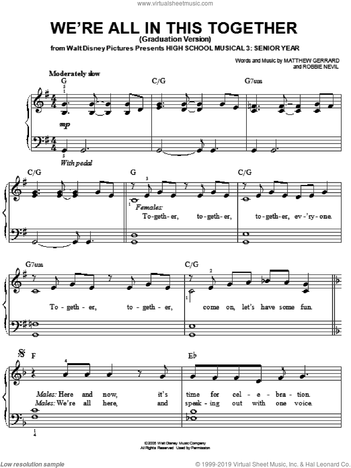 We're All In This Together (Graduation Version) sheet music for piano solo by High School Musical 3, Matthew Gerrard and Robbie Nevil, easy skill level